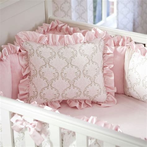 baby coverlet pink and taupe damask decorative pillow rectangular