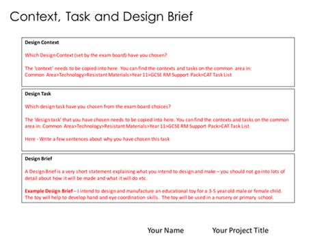 design brief university aqa gcse rm project templates by nightrider teaching