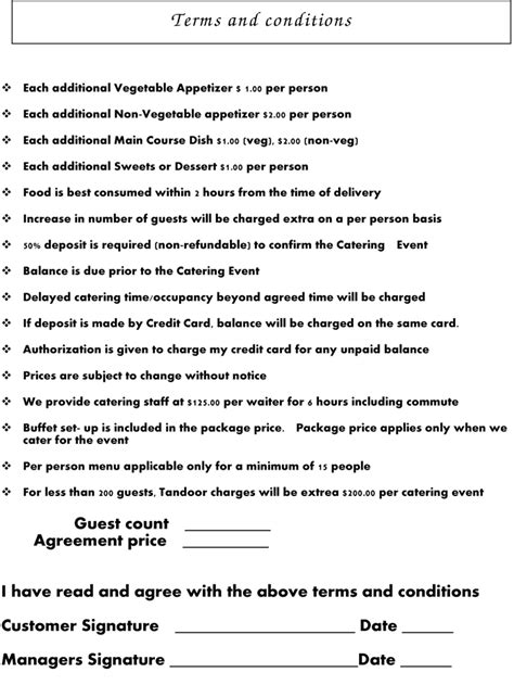 Catering Terms Images Frompo 1 Catering Terms And Conditions Template