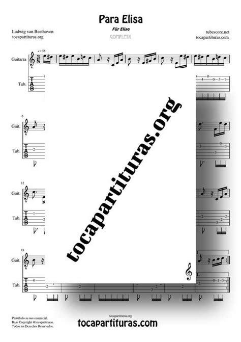 Para Elisa (Für Elise) Partitura y Tablatura del Punteo de