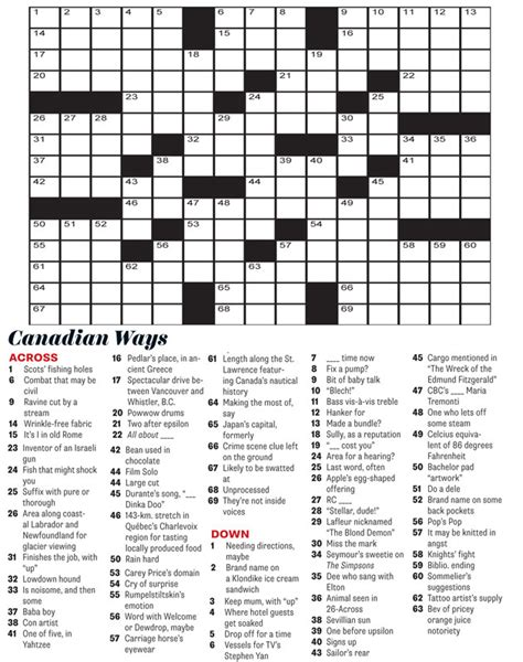 easy crossword puzzles canada crossword july august 2014 canadian way everything