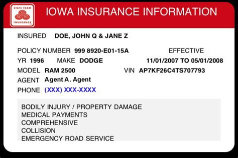 auto insurance card template illinois insurance card template 187 ibrizz
