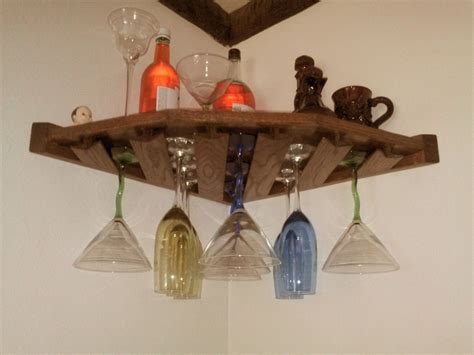 reclaimed wood wall mounted corner wine rack with glass