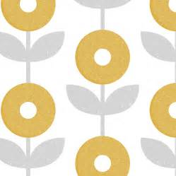 This gray and mustard yellow mod flower print would be perfect for