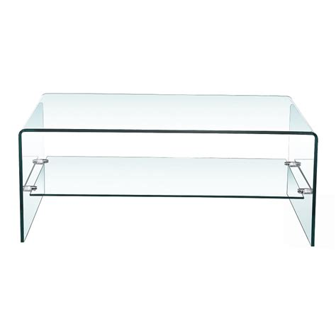 Curved Glass Coffee Table Bent Glass Coffee Table With Shelf Xcella