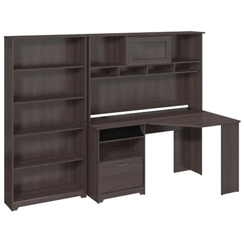 bush furniture cabot corner desk bush cabot corner desk with hutch and 5 shelf bookcase in