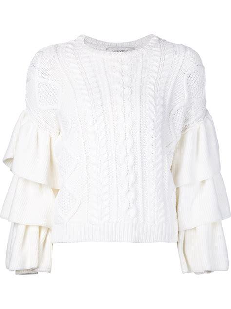 Ruffle Sleeve Sweater valentino ruffle sleeve sweater in white lyst