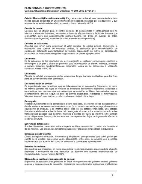 Plan contable gubernamental (Resolución Directoral Nº 004