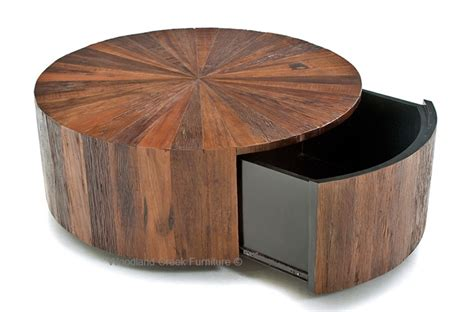 rustic round coffee table round wood coffee table with drawer modern rustic design