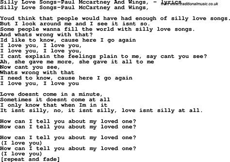 printable wings lyrics love song lyrics for silly love songs paul mccartney and