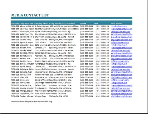 media contact list template word document templates