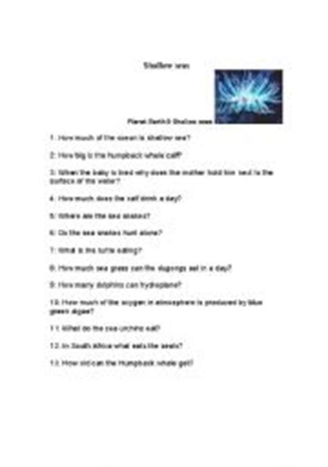 Planet Earth Shallow Seas Worksheet by Teaching Worksheets Other Listening Worksheets
