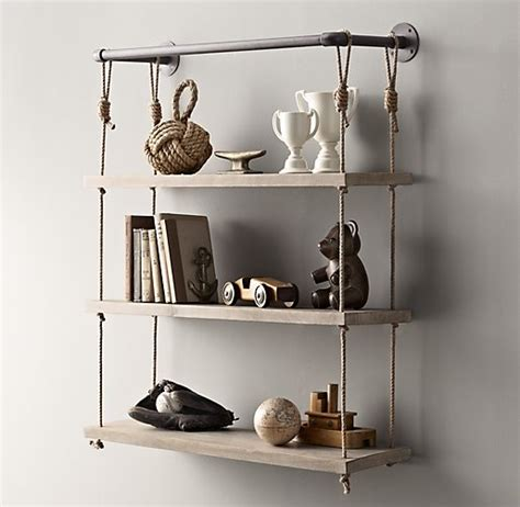 industrial pipe rope shelf 36 quot weathered white