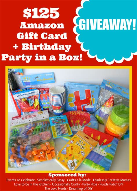 Birthday Giveaway Ideas - 125 amazon gift card birthday party in a box giveaway love to be in the kitchen