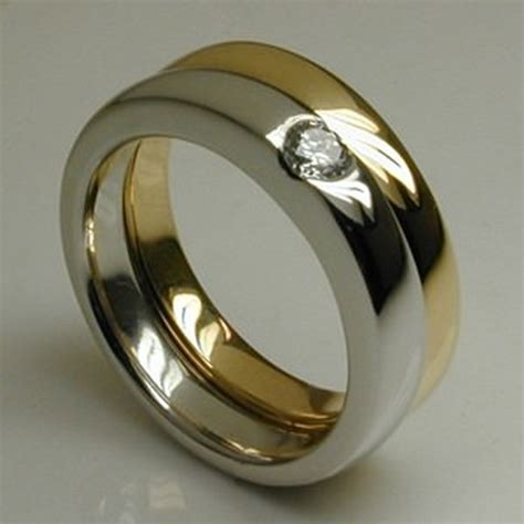 bespoke curved air mixed metal engagement wedding ring
