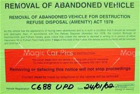 abandoned car notice sticker | static | id:33159 | stock