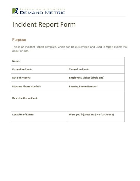 report form template incident report form