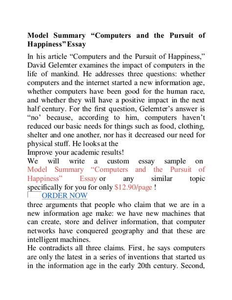 The Pursuit Of Happiness Essay by Computers And The Pursuit Of Happiness1