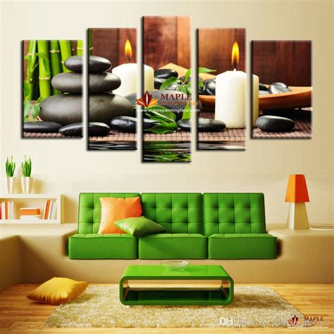 Paintings For Living Room Feng Shui 2017 5 Panel Wall Botanical Green Feng Shui White
