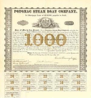 potomac boat company collectible steamship steamboat bonds