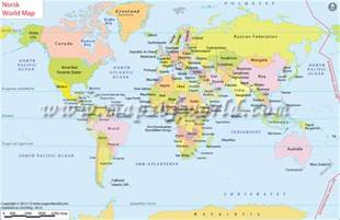 World Map Norway by Verdenskart World Map In Norwegian