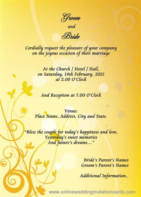Wedding Card New Song by Wedding Invitation Format New Sle Wedding Card