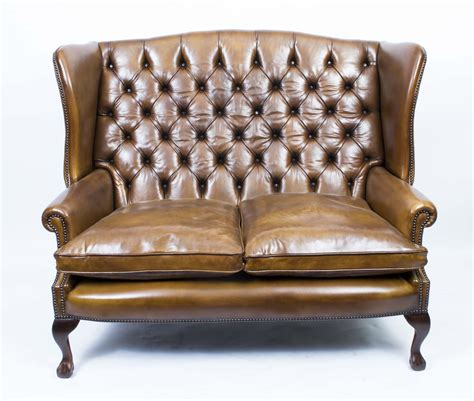 Leather Settee Sofa by Leather Chippendale Club Settee Sofa Cognac