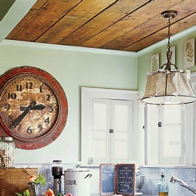 Kitchen Wood Ceiling by Cottage Charm Wood Paneling Overhead 28 Thrifty Ways To