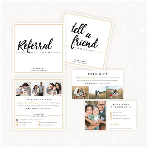 referral card template photography modern lettering referral card set strawberry kit