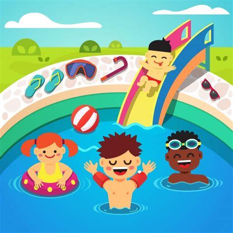 dibujos niños jugando en la piscina ni 241 os que tienen una fiesta en la piscina nataci 243 n feliz