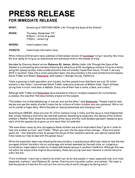 press release template for event sle press release post event doc pictures