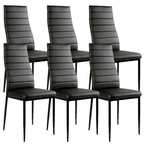 chaises lot de 6 chaise noir giga matelass 233 e lot de 6 achat vente chaise