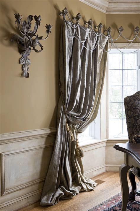 puddling drapes best 58 medallion top drapery design images on pinterest