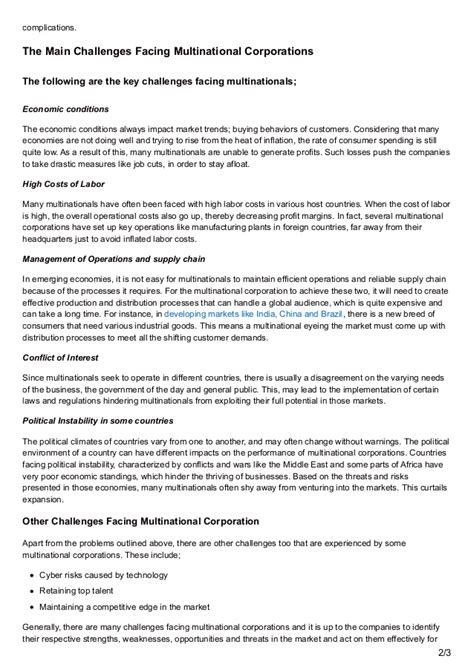 challenges of multinational corporations bestessayservices challenges facing multinational