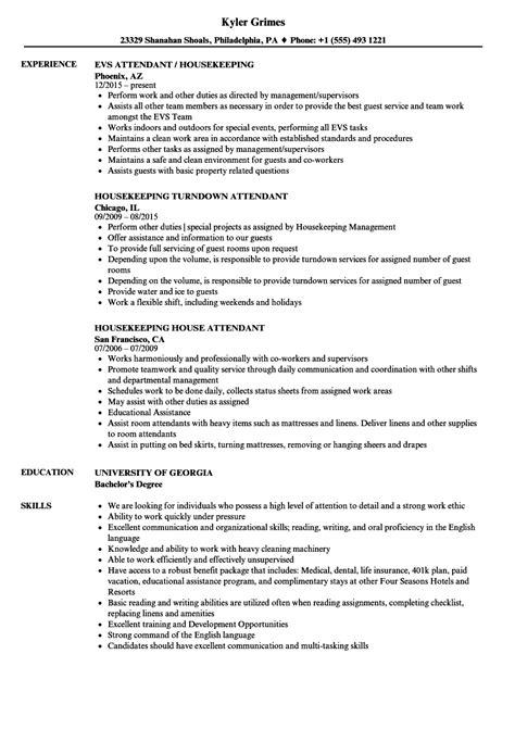 free sle resume for room attendant resume sles for housekeeping best resume templates