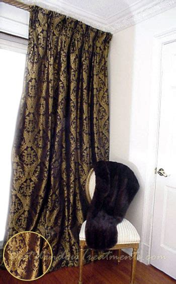 Black And Gold Curtains Thai Silk Pleated Draperies In Black Gold Damask Bestwindowtreatments
