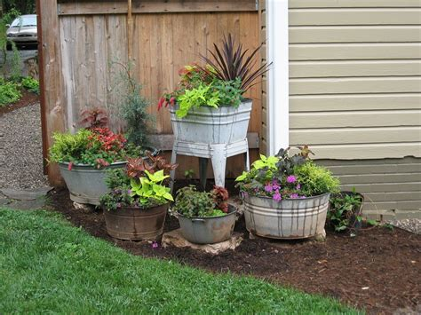 container gardens at copper sundae wash tubs gardens