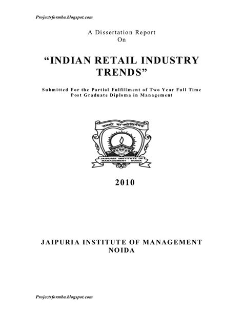 dissertation report a dissertation report on indian retail industry trends