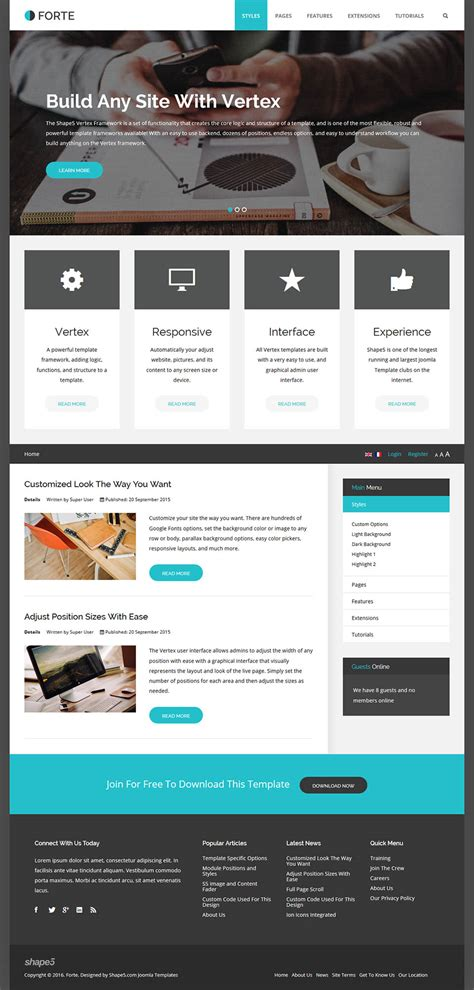 Shape5 Templates by Shape5 Forte V1 0 0 Free Corporate Template For Joomla
