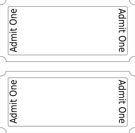 ticket template free admit one ticket template clipart best