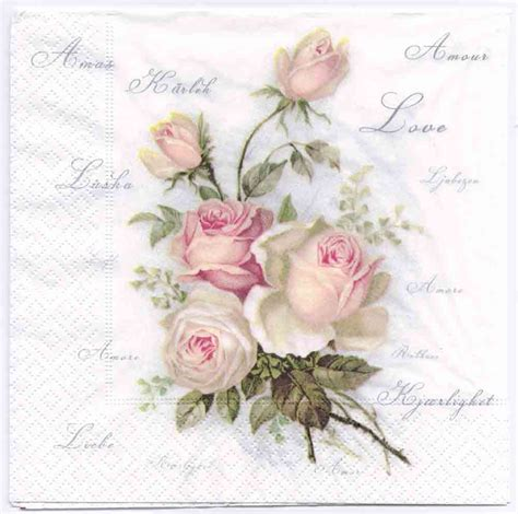Of Decoupage - decoupage napkins of vintage roses of amour cocktail