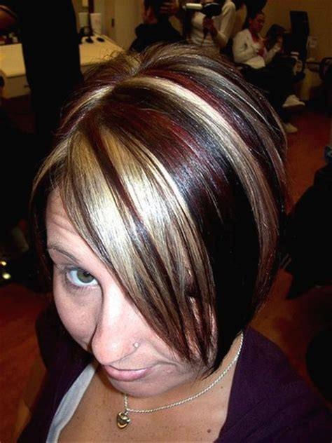 foils with red blonde chin length hair short medium hairstyle with highlights