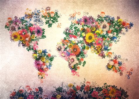 the art of worldly world map floral 9 painting by bekim art