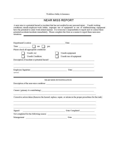 near miss reporting form template near miss report sle best free home design idea
