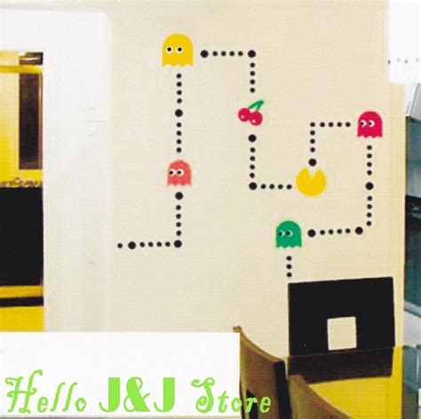 pacman wall stickers pacman mural wall stickers vinyl decal home