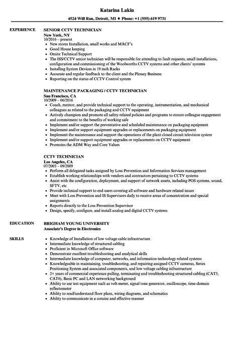 resume format for cctv technician cctv technician resume sles velvet