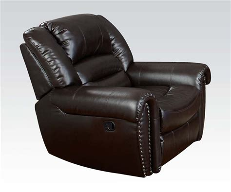 dark brown leather reclining sofa ralph reclining sofa in dark brown leather by acme 50285