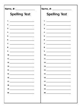 Spelling Test Template By Mstalley916 Teachers Pay Teachers Spelling Pretest Template
