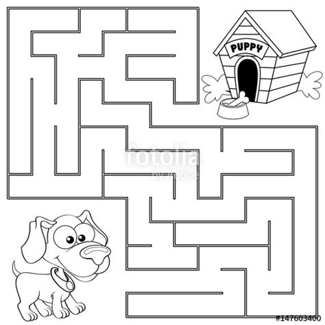 Simple Listy Black And White quot help puppy find path to his house labyrinth maze