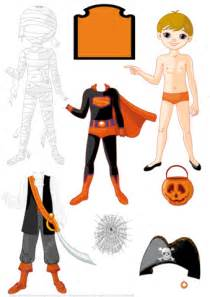 Papercraft Costume - boy paper doll with 3 costumes for mummy